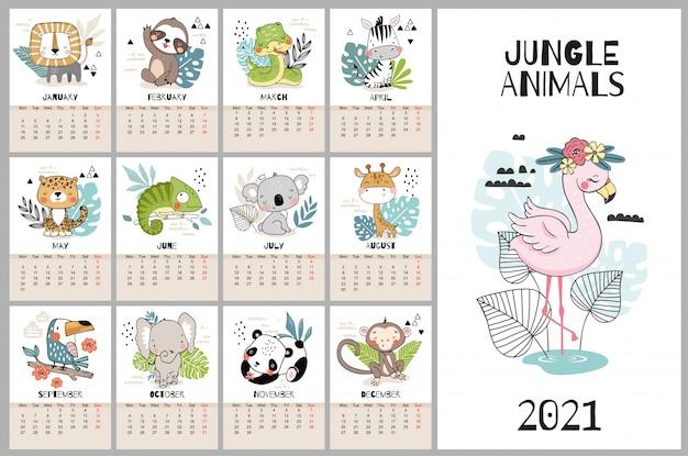 Ładny ręcznie rysowane kalendarz na 2021 rok z postaciami zwierząt z dżungli.