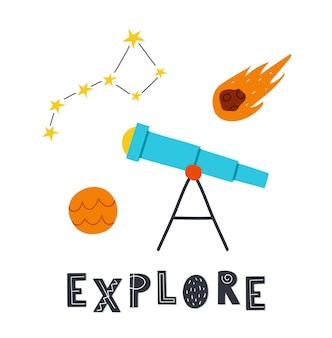 """Ładny ręcznie rysowane kosmiczny teleskop, gwiazdy kosmiczne i kometa. napis """"odkrywaj"""". inspirujący plakat, projekt koszulki."""