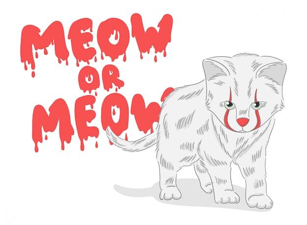 Ładny, ręcznie rysowane kot klauna z krwawym tłem