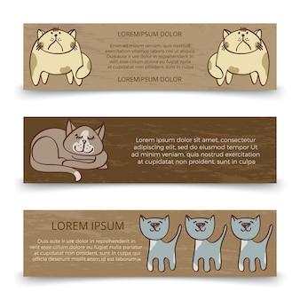 Ładny ręcznie rysowane koty banery szablon