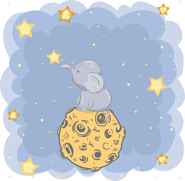 Ładny ręcznie rysowane kreskówka słoń siedzi na księżycu
