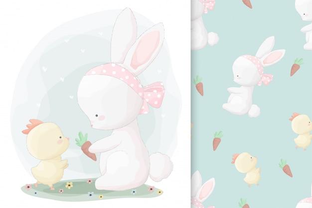 Ładny ręcznie rysowane króliczek i mała laska z zestawem wzór