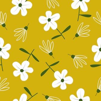 Ładny ręcznie rysowane kwiatowy wzór bez szwu