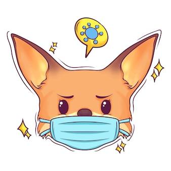 Ładny ręcznie rysowane lis z maską