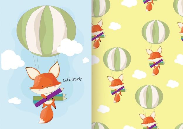 Ładny ręcznie rysowane lis z powrotem do koncepcji szkoły z wzorem