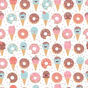 Ładny ręcznie rysowane lody pączki babeczki cukierki i słodycze bezszwowe tło wzór