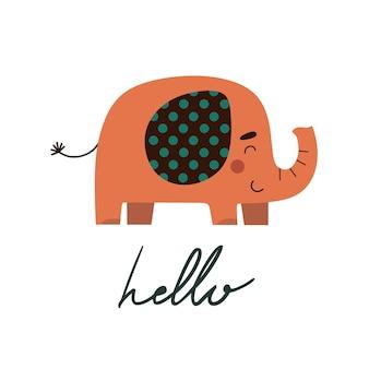 Ładny ręcznie rysowane nadruk ze słoniem w stylu płaski
