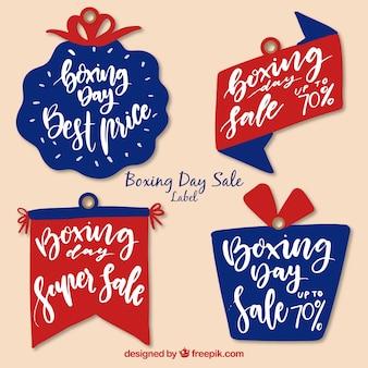 Ładny ręcznie rysowane odznaka sprzedaż boxing dzień