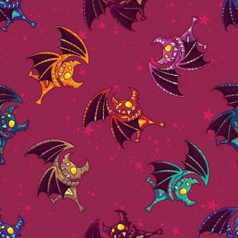 Ładny ręcznie rysowane plemienny wzór nietoperza na happy halloween