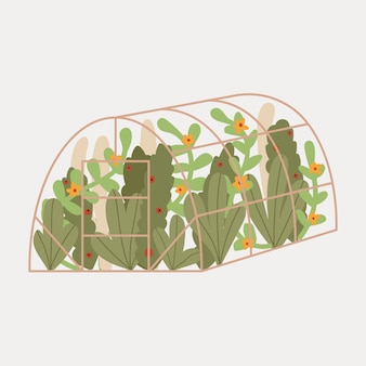 Ładny ręcznie rysowane szklarni. ogród. liście rośliny, kwiaty.