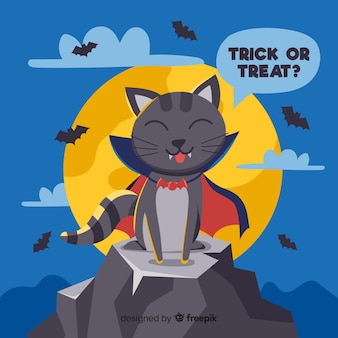 Ładny ręcznie rysowane wampir kot z peleryną