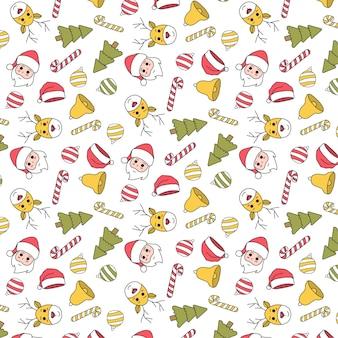 Ładny ręcznie rysowane wzór świąteczny