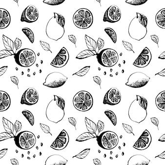 Ładny ręcznie rysowane wzór z plasterkami cytryny z liśćmi i nasionami do menu lub przepisu