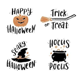Ładny ręcznie rysowane zestaw napis cytat halloween. doodle styl ilustracji slogan.