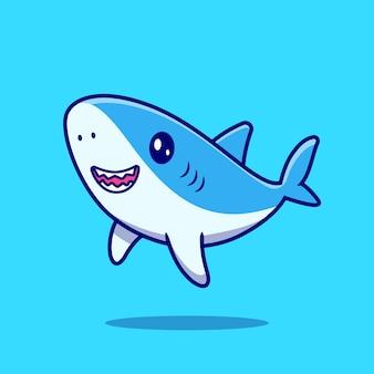 Ładny rekin pływanie ikona ilustracja kreskówka.