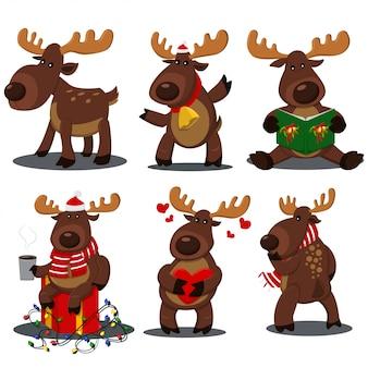 Ładny renifer świąteczny w różnych pozach. wektor zestaw znaków jelenia kreskówek