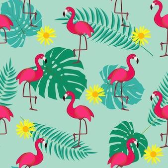 Ładny retro bezszwowe flamingo wzór tła ilustracja wektorowa eps10