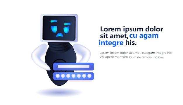 Ładny robot cyborg czat bańka komunikacja chatbot obsługa klienta sztuczna inteligencja koncepcja technologii pełnej długości pozioma kopia przestrzeń ilustracja wektorowa