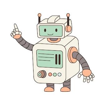 Ładny robot kreskówka trzymając palec w górę.
