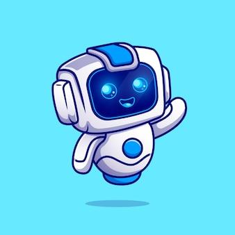 Ładny robot macha ręką postać z kreskówki. technologia nauki na białym tle.