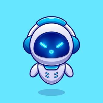 Ładny robot sobie słuchawki kreskówka wektor ikona ilustracja. technologia nauka ikona koncepcja białym tle premium wektor. płaski styl kreskówki