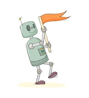 Ładny robot trzyma flagę
