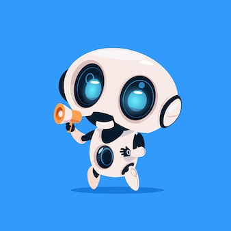 Ładny robot trzymać megafon na białym tle ikona na niebieskim tle nowoczesna technologia sztuczna inteligencja