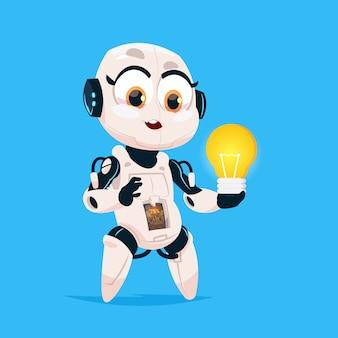 Ładny robot trzymać żarówka robotic girl na białym tle ikona na niebieskim tle