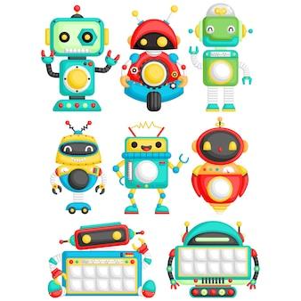 Ładny robot wektor zestaw