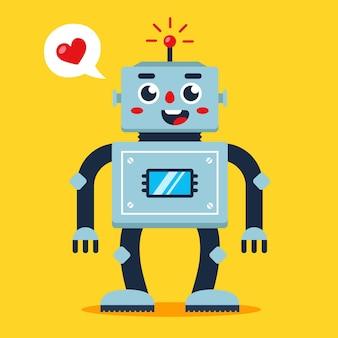 Ładny robot z sercem. kochający android. płaska ilustracja