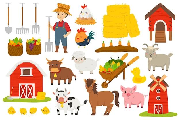 Ładny rolnik i zestaw wektorów zwierząt gospodarskich