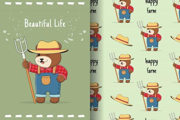 Ładny rolnik niedźwiedź wzór i karta