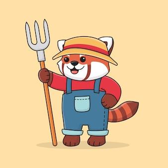 Ładny rolnik panda czerwona