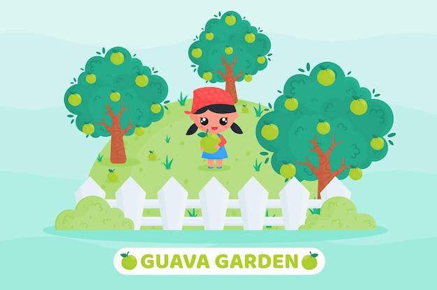 Ładny rolnik zbierający guawę na ilustracji kreskówki w ogrodzie