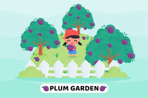 Ładny rolnik zbierający owoce na ilustracji kreskówki w ogrodzie śliwkowym