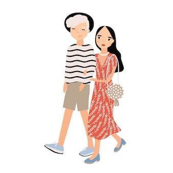 Ładny romantyczna para ubrana w modne ubrania na białym tle. stylowy hipster chłopak i dziewczyna chodzą razem. młody mężczyzna i kobieta w miłości. kolorowa ilustracja wektorowa w stylu płaskiej kreskówki