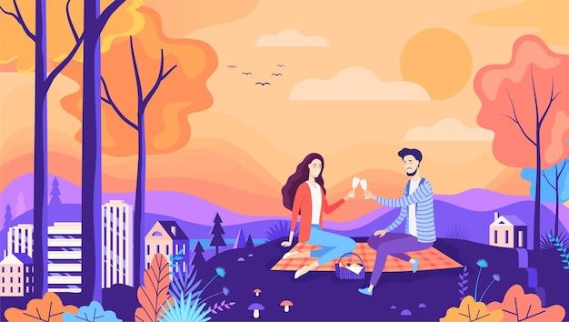 Ładny romantyczny jesienny piknik para ilustracji wektorowych park miejski natura krajobraz