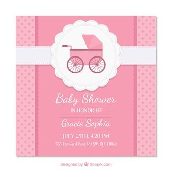 Ładny różowy baby shower zaproszenia