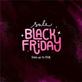 Ładny różowy czarny piątek transparent typografia