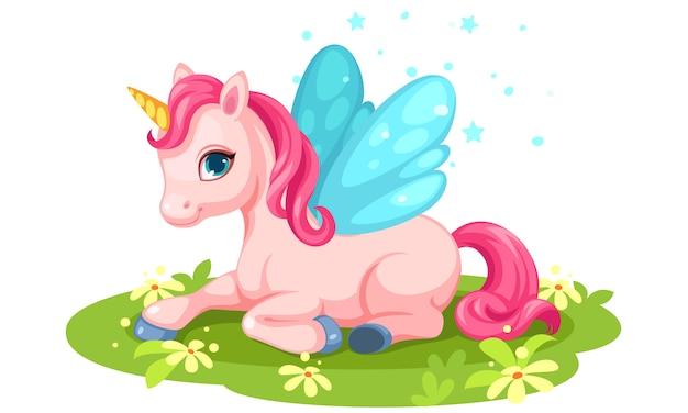 Ładny różowy jednorożec postać