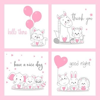 Ładny różowy kartkę z życzeniami