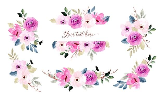 Ładny różowy kompozycja kwiatowa kolekcja akwareli