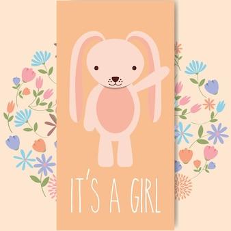 Ładny różowy królik baby shower to karta gril