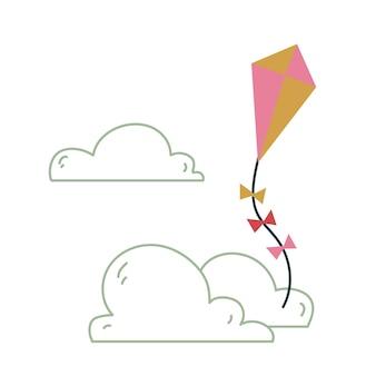 Ładny różowy latawiec. wektor wydruku dla dzieci. latanie na niebie na tle chmur. minimalizm dla przedszkola lub druku. ilustracja dziecka na białym tle clipart