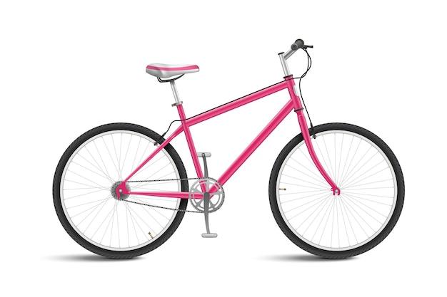 Ładny różowy rower na białym tle