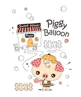 Ładny różowy świnia doodle