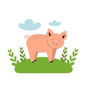 Ładny różowy świnia stoi na łące. zwierzęta gospodarskie kreskówka, rolnictwo, rustykalne. proste wektor płaskie ilustracja na białym tle z niebieskimi chmurami i zieloną trawą.