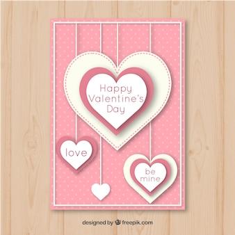 Ładny Różowy Valentine Plakat Szablon Darmowych Wektorów
