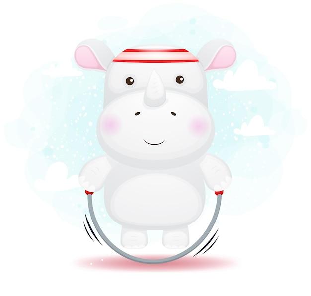 Ładny rysunek mały nosorożec skakanka skakanka