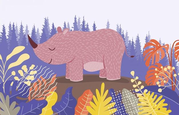 Ładny rysunek nosorożca między dżunglą z liśćmi i drzewami.